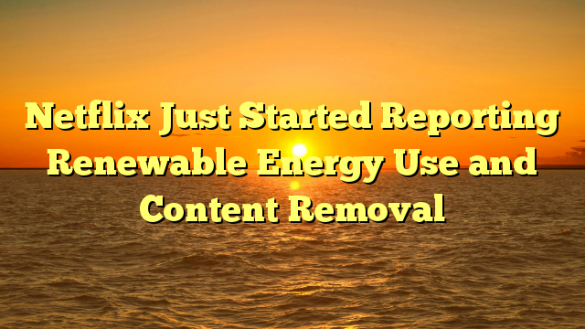 Netflix Just Started Reporting Renewable Energy Use and Content Removal