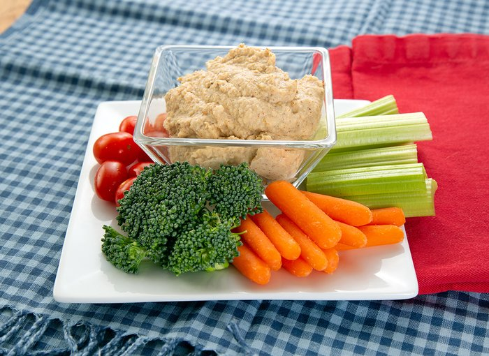 Hummus and veggies.