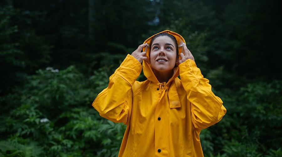 woman wearing a rain jacket